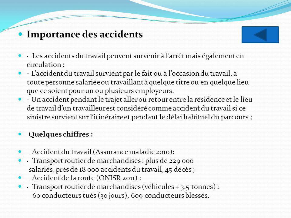 Importance des accidents · Les accidents du travail peuvent survenir à larrêt mais également en circulation : - Laccident du travail survient par le f