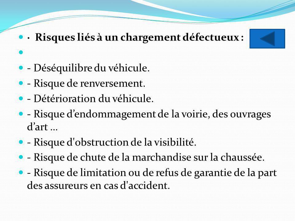 · Risques liés à un chargement défectueux : - Déséquilibre du véhicule. - Risque de renversement. - Détérioration du véhicule. - Risque dendommagement