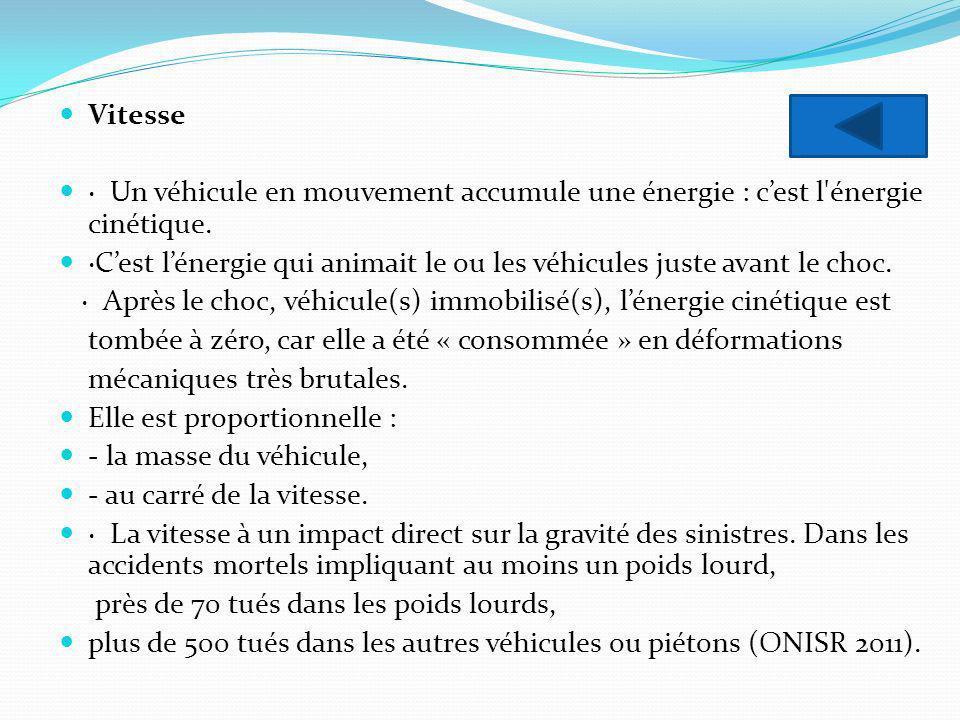 Vitesse · Un véhicule en mouvement accumule une énergie : cest l'énergie cinétique. ·Cest lénergie qui animait le ou les véhicules juste avant le choc