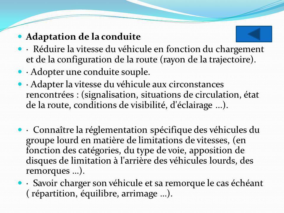 Adaptation de la conduite · Réduire la vitesse du véhicule en fonction du chargement et de la configuration de la route (rayon de la trajectoire). · A