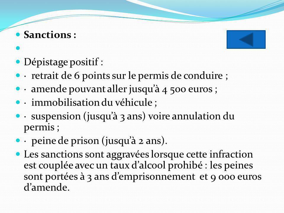 Sanctions : Dépistage positif : · retrait de 6 points sur le permis de conduire ; · amende pouvant aller jusquà 4 500 euros ; · immobilisation du véhi