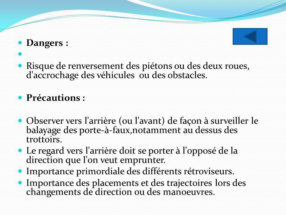 Dangers : Risque de renversement des piétons ou des deux roues, d'accrochage des véhicules ou des obstacles. Précautions : Observer vers l'arrière (ou
