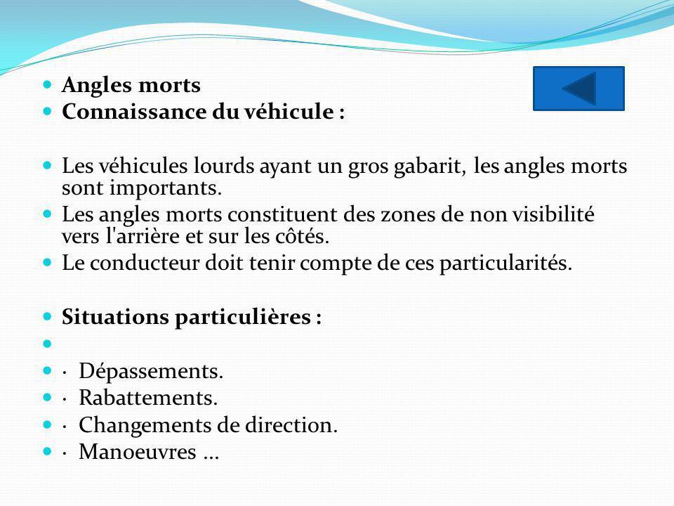 Angles morts Connaissance du véhicule : Les véhicules lourds ayant un gros gabarit, les angles morts sont importants. Les angles morts constituent des