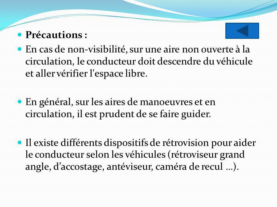 Précautions : En cas de non-visibilité, sur une aire non ouverte à la circulation, le conducteur doit descendre du véhicule et aller vérifier l'espace