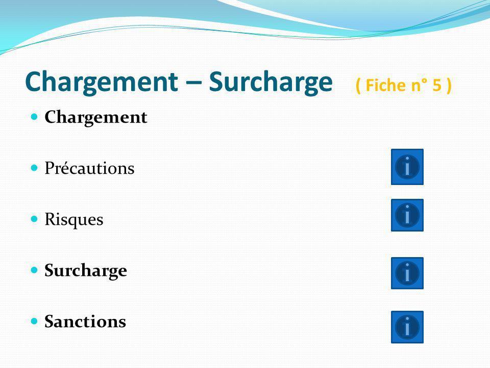 Chargement – Surcharge ( Fiche n° 5 ) Chargement Précautions Risques Surcharge Sanctions