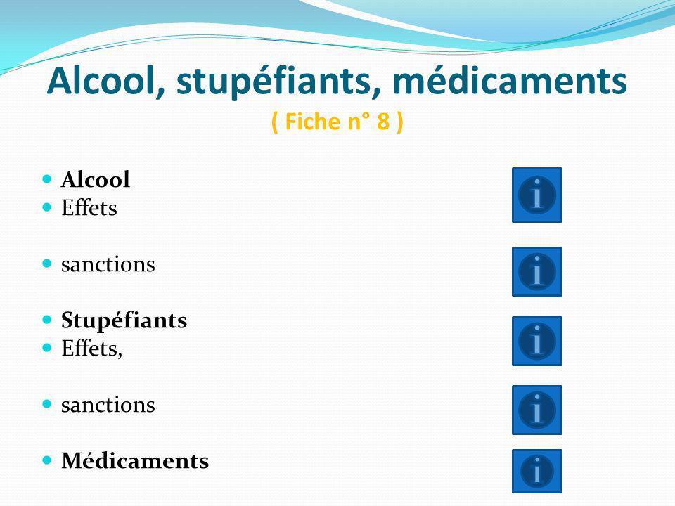 Alcool, stupéfiants, médicaments ( Fiche n° 8 ) Alcool Effets sanctions Stupéfiants Effets, sanctions Médicaments