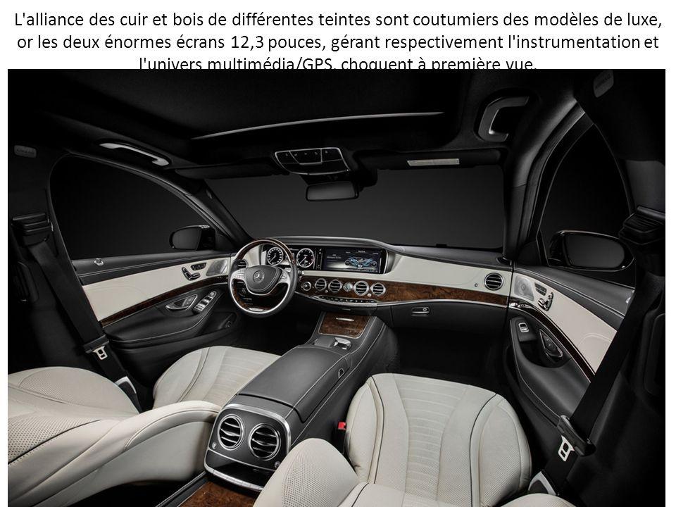 L'alliance des cuir et bois de différentes teintes sont coutumiers des modèles de luxe, or les deux énormes écrans 12,3 pouces, gérant respectivement