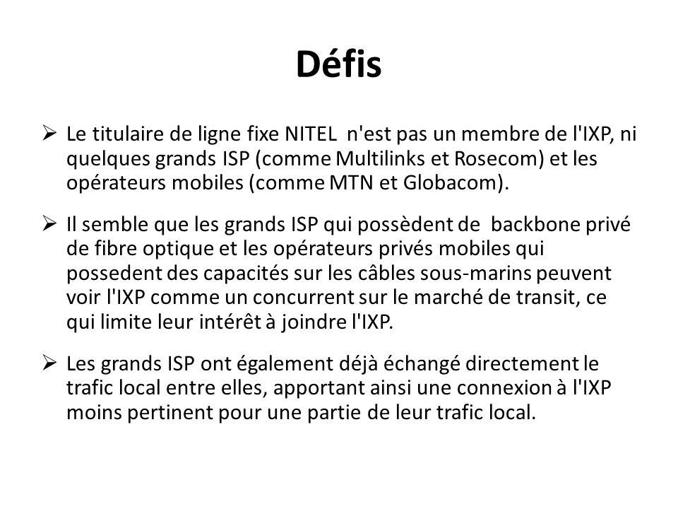 Défis Le titulaire de ligne fixe NITEL n'est pas un membre de l'IXP, ni quelques grands ISP (comme Multilinks et Rosecom) et les opérateurs mobiles (c