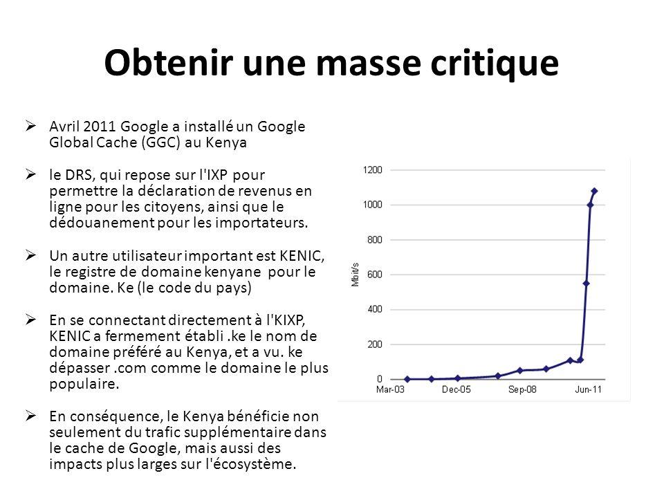 Obtenir une masse critique Avril 2011 Google a installé un Google Global Cache (GGC) au Kenya le DRS, qui repose sur l'IXP pour permettre la déclarati