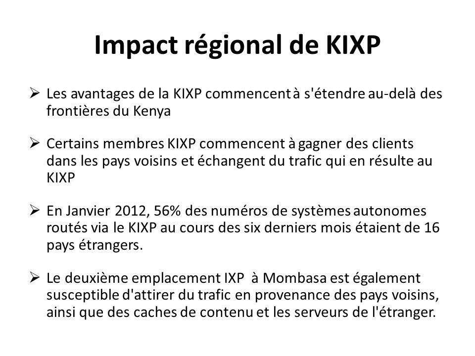 Impact régional de KIXP Les avantages de la KIXP commencent à s'étendre au-delà des frontières du Kenya Certains membres KIXP commencent à gagner des