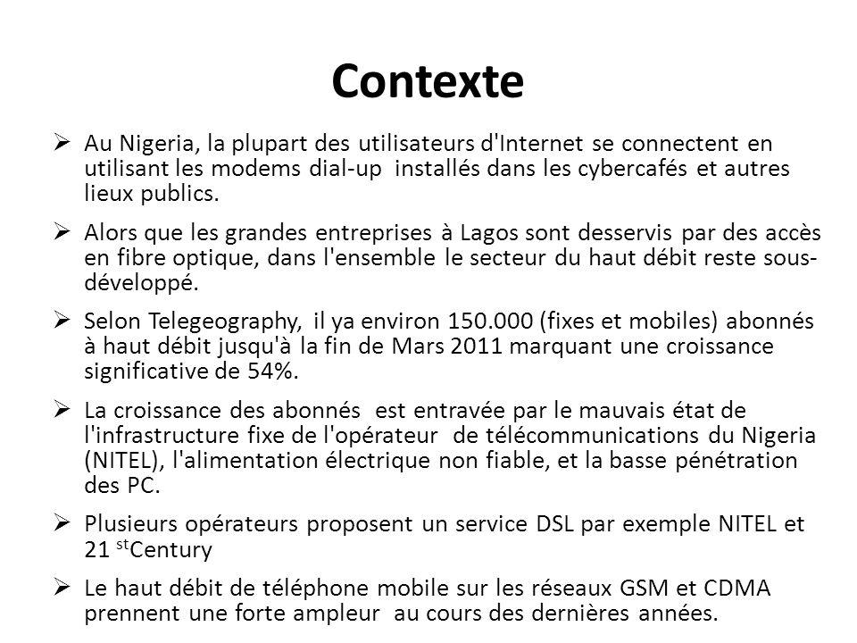 Contexte Au Nigeria, la plupart des utilisateurs d'Internet se connectent en utilisant les modems dial-up installés dans les cybercafés et autres lieu