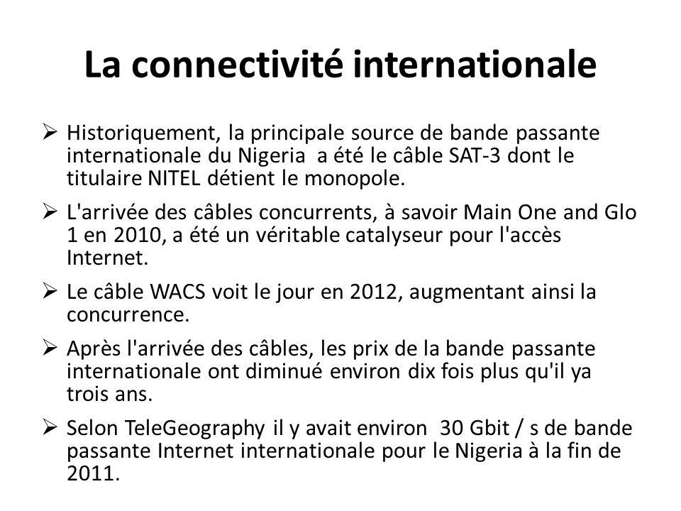La connectivité internationale Historiquement, la principale source de bande passante internationale du Nigeria a été le câble SAT-3 dont le titulaire