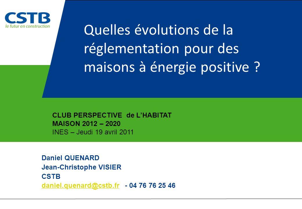 Quelles évolutions de la réglementation pour des maisons à énergie positive ? Daniel QUENARD Jean-Christophe VISIER CSTB daniel.quenard@cstb.frdaniel.