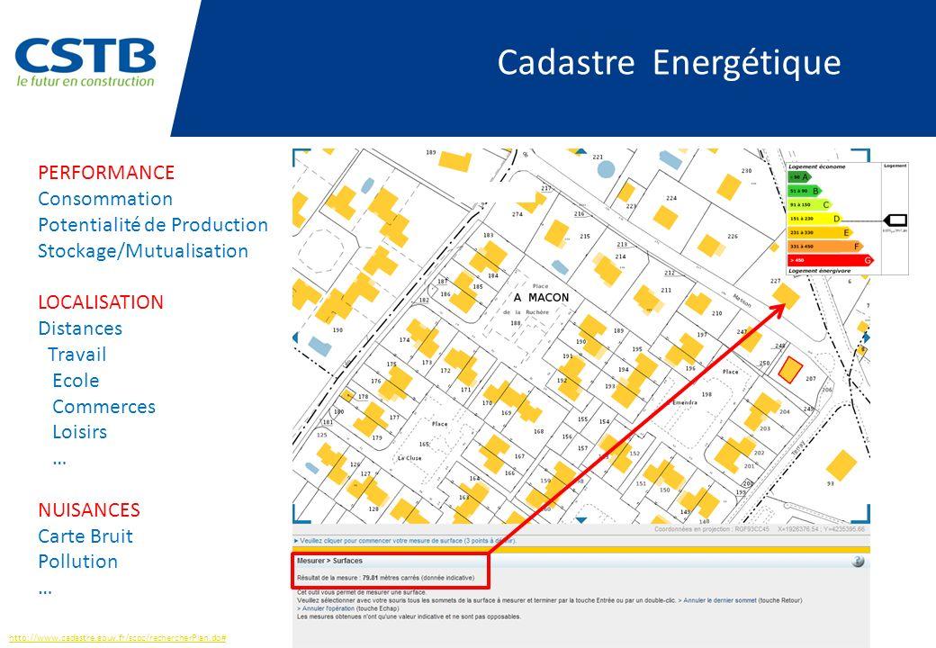 http://www.cadastre.gouv.fr/scpc/rechercherPlan.do# PERFORMANCE Consommation Potentialité de Production Stockage/Mutualisation LOCALISATION Distances