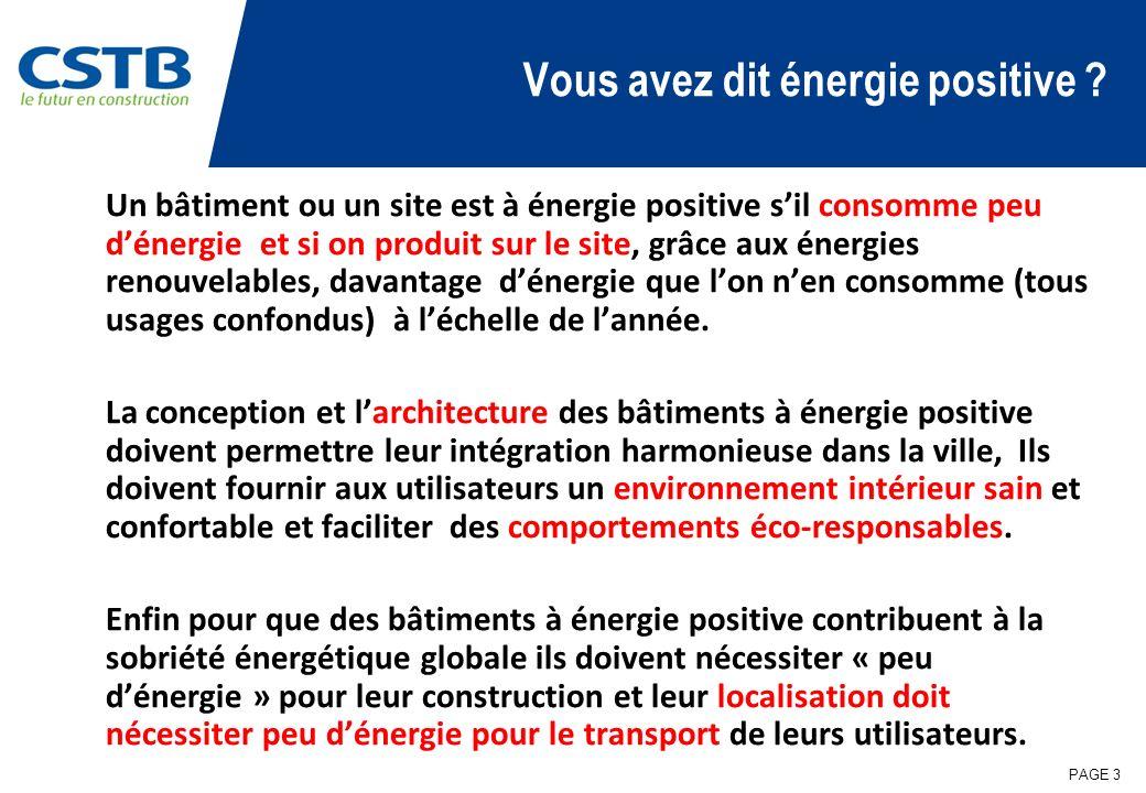 PAGE 3 Vous avez dit énergie positive ? Un bâtiment ou un site est à énergie positive sil consomme peu dénergie et si on produit sur le site, grâce au