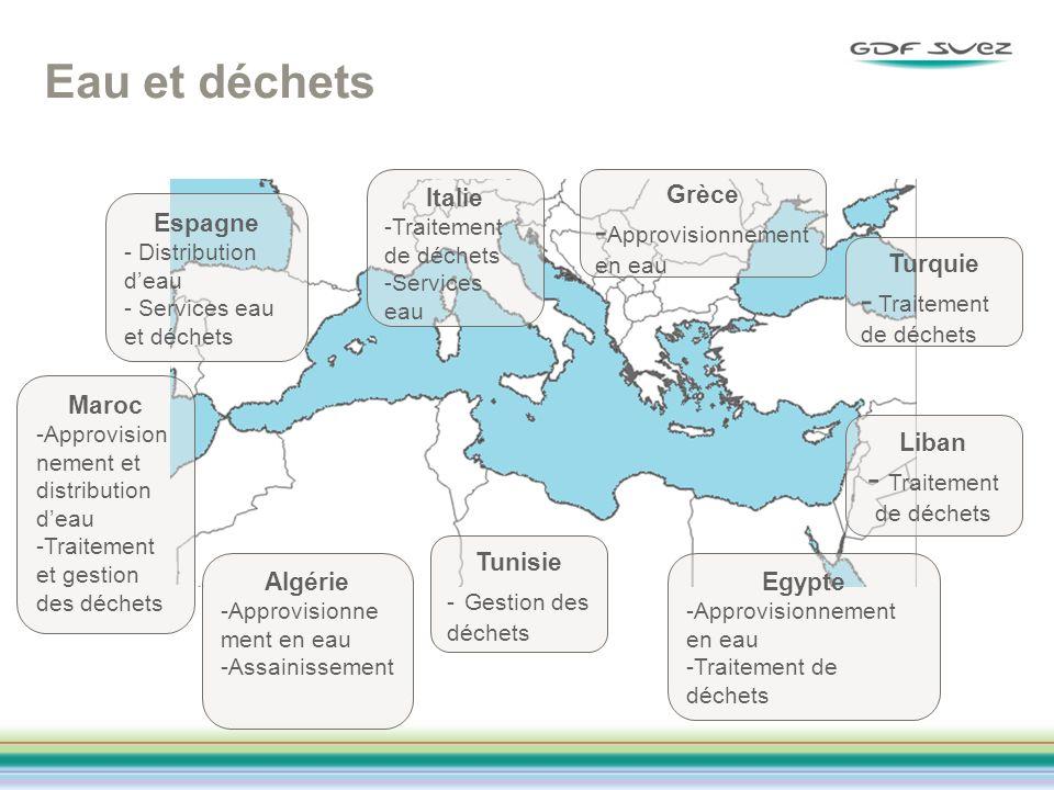 Eau et déchets Maroc -Approvision nement et distribution deau -Traitement et gestion des déchets Algérie -Approvisionne ment en eau -Assainissement Tu