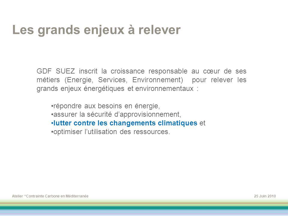 Atelier Contrainte Carbone en Méditerranée25 Juin 2010 GDF SUEZ inscrit la croissance responsable au cœur de ses métiers (Energie, Services, Environne