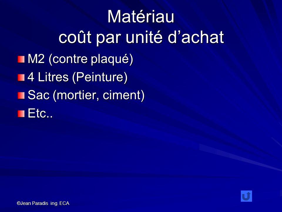 ©Jean Paradis ing. ECA Matériau coût par unité dachat M2 (contre plaqué) 4 Litres (Peinture) Sac (mortier, ciment) Etc..