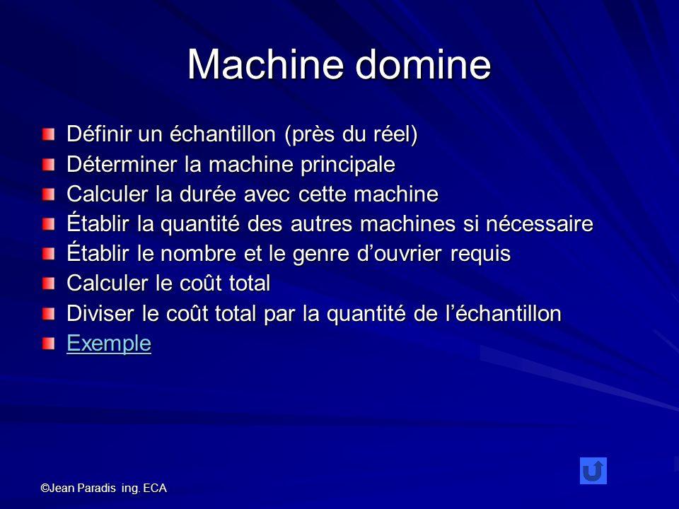 ©Jean Paradis ing. ECA Machine domine Définir un échantillon (près du réel) Déterminer la machine principale Calculer la durée avec cette machine Étab