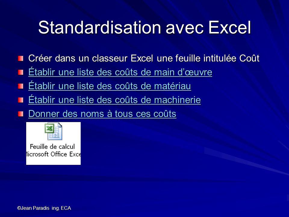 ©Jean Paradis ing. ECA Standardisation avec Excel Créer dans un classeur Excel une feuille intitulée Coût Établir une liste des coûts de main dœuvre É