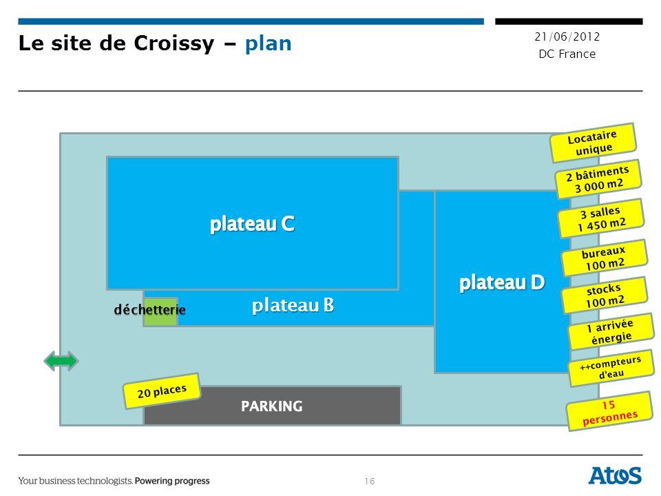 16 21/06/2012 DC France Le site de Croissy – plan plateau B 20 places 2 bâtiments 3 000 m2 3 salles 1 450 m2 bureaux 100 m2 stocks 100 m2 15 personnes Locataire unique déchetterie 1 arrivée énergie ++compteurs deau