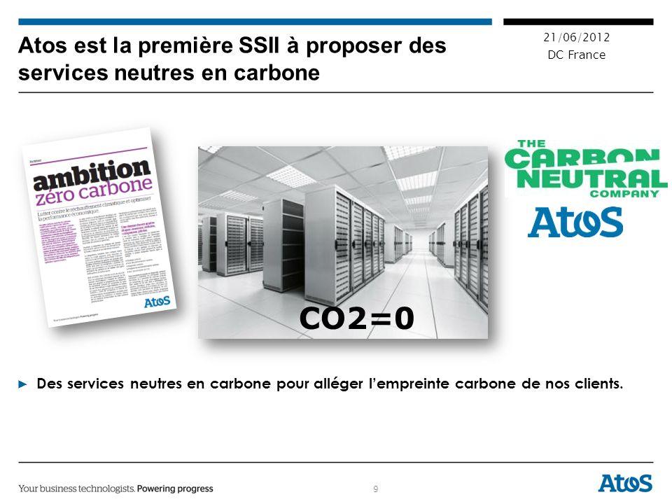 9 21/06/2012 DC France Atos est la première SSII à proposer des services neutres en carbone Des services neutres en carbone pour alléger lempreinte carbone de nos clients.