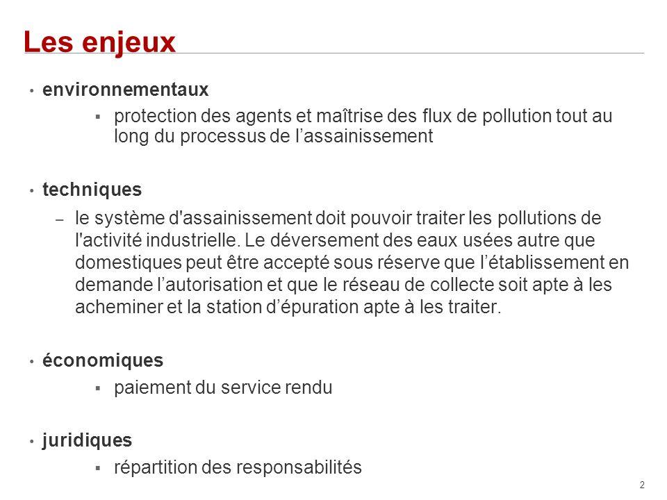 2 Les enjeux environnementaux protection des agents et maîtrise des flux de pollution tout au long du processus de lassainissement techniques – le système d assainissement doit pouvoir traiter les pollutions de l activité industrielle.