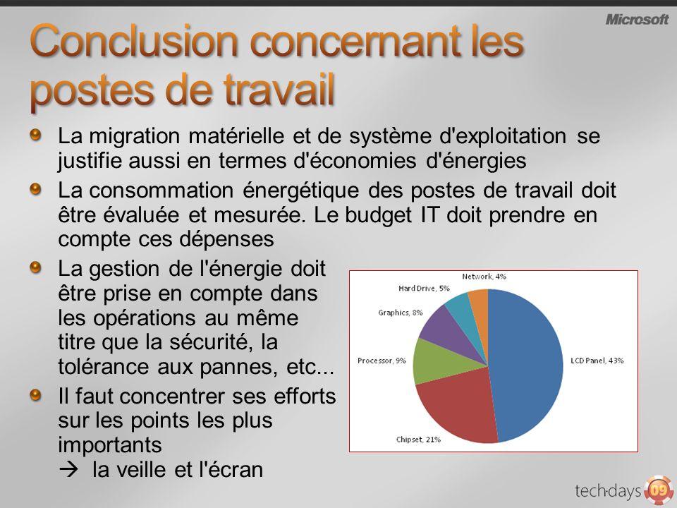 La migration matérielle et de système d exploitation se justifie aussi en termes d économies d énergies La consommation énergétique des postes de travail doit être évaluée et mesurée.