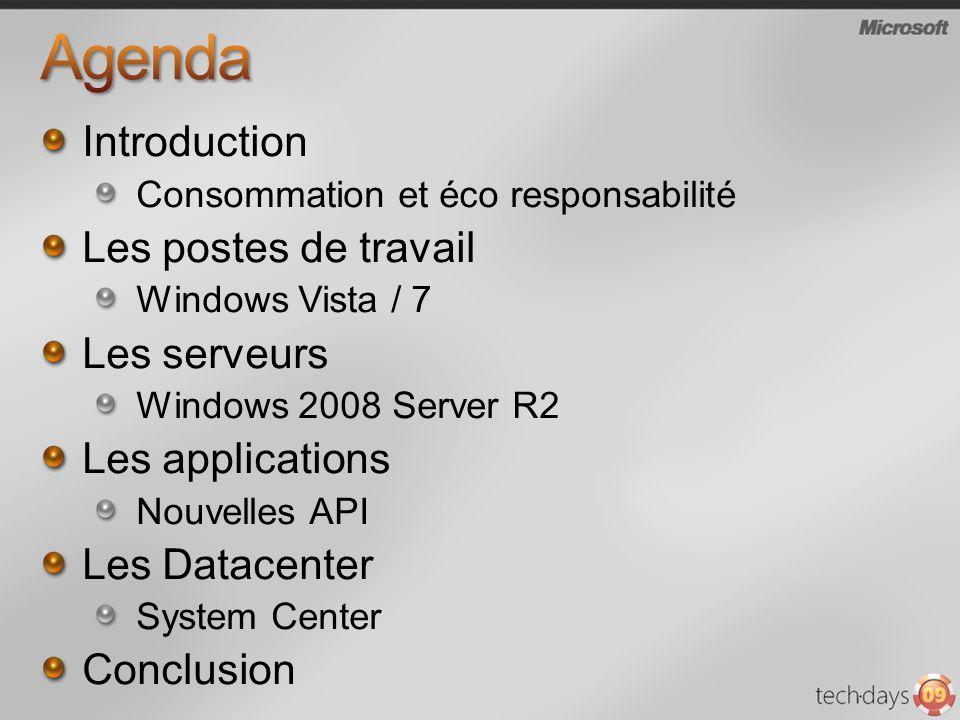 Introduction Consommation et éco responsabilité Les postes de travail Windows Vista / 7 Les serveurs Windows 2008 Server R2 Les applications Nouvelles API Les Datacenter System Center Conclusion