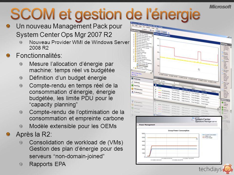 Un nouveau Management Pack pour System Center Ops Mgr 2007 R2 Nouveau Provider WMI de Windows Server 2008 R2 Fonctionnalités: Mesure lallocation déner