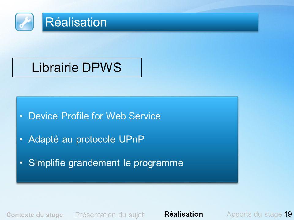 Réalisation Contexte du stage Présentation du sujet RéalisationApports du stage Librairie DPWS Device Profile for Web Service Adapté au protocole UPnP
