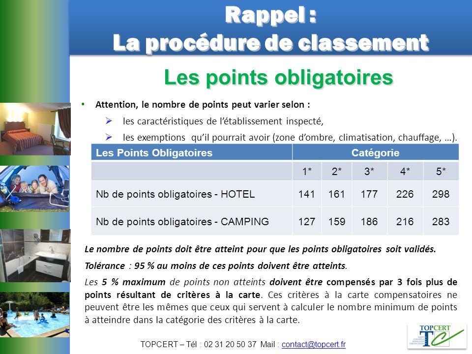 Rappel : La procédure de classement Rappel : La procédure de classement Attention, le nombre de points peut varier selon : les caractéristiques de lét