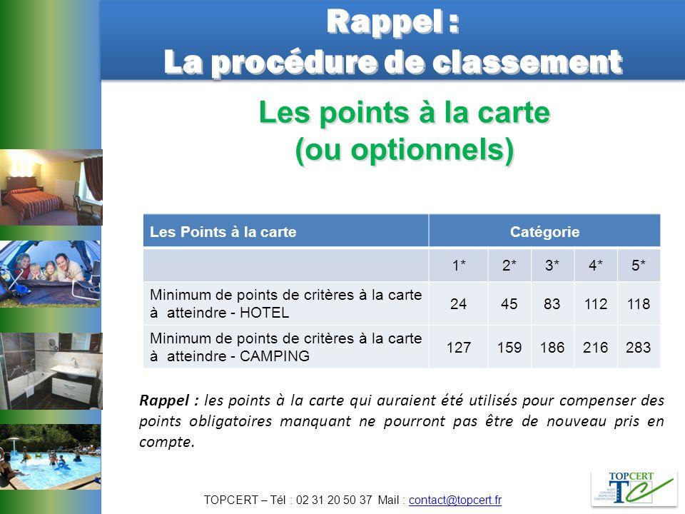 Rappel : La procédure de classement Rappel : La procédure de classement Les points à la carte (ou optionnels) Les Points à la carteCatégorie 1*2*3*4*5