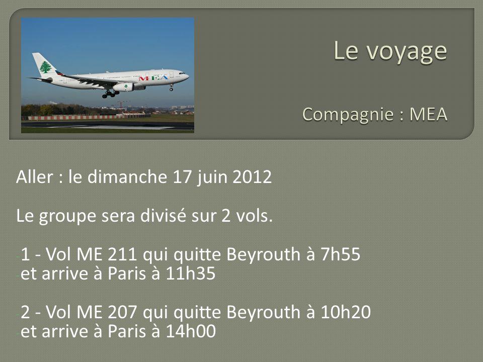 Aller : le dimanche 17 juin 2012 Le groupe sera divisé sur 2 vols. - 1 - Vol ME 211 qui quitte Beyrouth à 7h55 - et arrive à Paris à 11h35 - 2 - Vol M