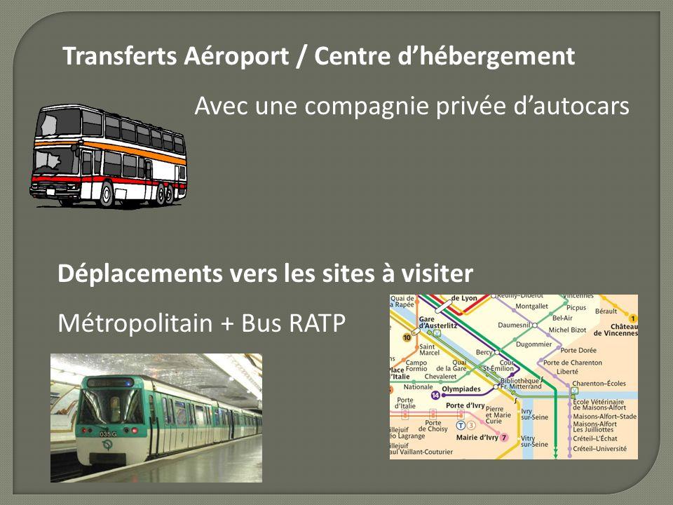 Transferts Aéroport / Centre dhébergement Avec une compagnie privée dautocars Déplacements vers les sites à visiter Métropolitain + Bus RATP