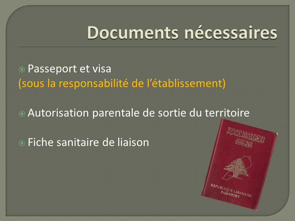Passeport et visa (sous la responsabilité de létablissement) Autorisation parentale de sortie du territoire Fiche sanitaire de liaison