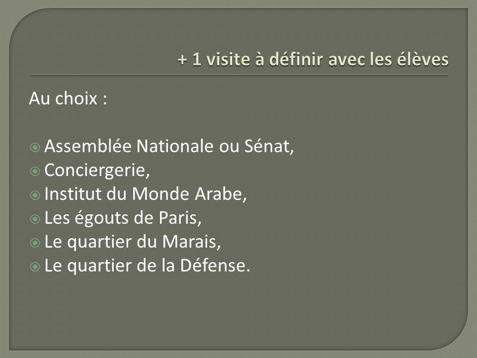 Au choix : Assemblée Nationale ou Sénat, Conciergerie, Institut du Monde Arabe, Les égouts de Paris, Le quartier du Marais, Le quartier de la Défense.