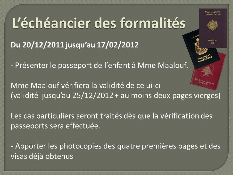 Léchéancier des formalités Du 20/12/2011 jusquau 17/02/2012 - Présenter le passeport de lenfant à Mme Maalouf. Mme Maalouf vérifiera la validité de ce