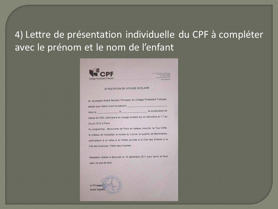 4) Lettre de présentation individuelle du CPF à compléter avec le prénom et le nom de lenfant