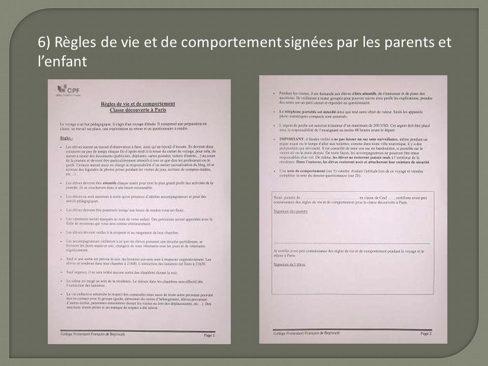 6) Règles de vie et de comportement signées par les parents et lenfant