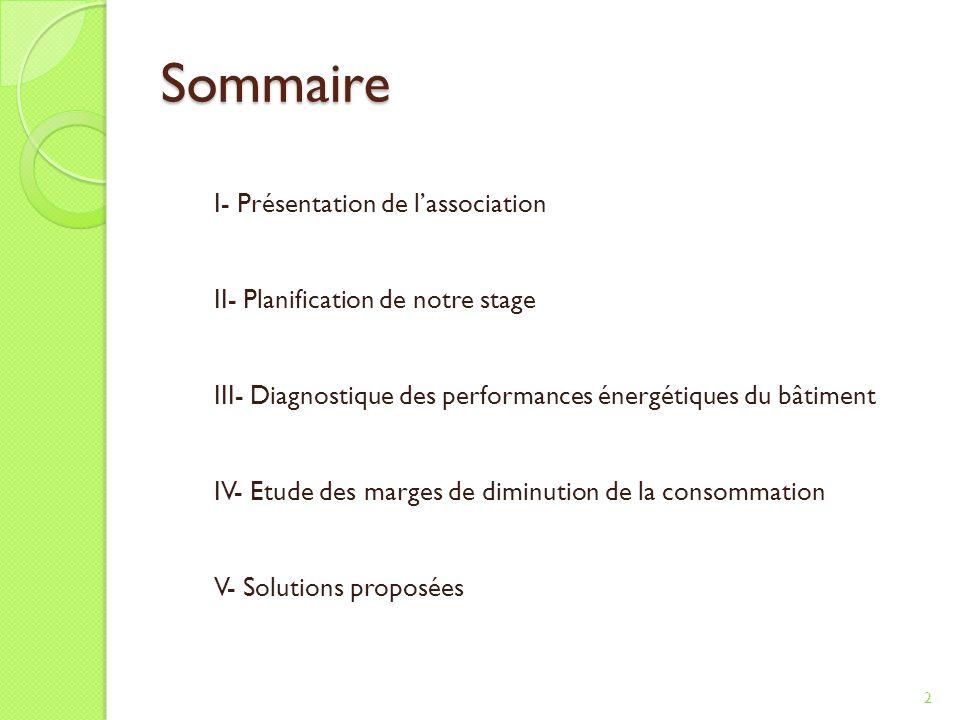 Sommaire 2 I- Présentation de lassociation II- Planification de notre stage III- Diagnostique des performances énergétiques du bâtiment IV- Etude des marges de diminution de la consommation V- Solutions proposées