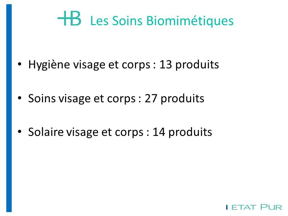 Hygiène visage et corps : 13 produits Soins visage et corps : 27 produits Solaire visage et corps : 14 produits Les Soins Biomimétiques