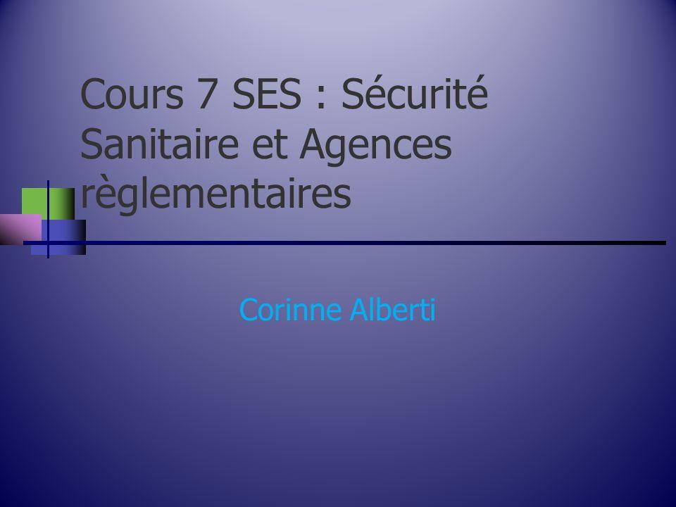 Cours 7 SES : Sécurité Sanitaire et Agences règlementaires Corinne Alberti