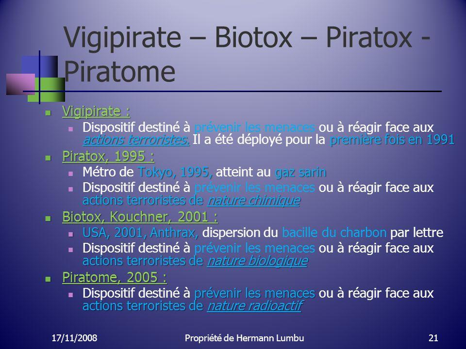 Vigipirate – Biotox – Piratox - Piratome Vigipirate : Vigipirate : actions terroristes. première fois en 1991 Dispositif destiné à prévenir les menace