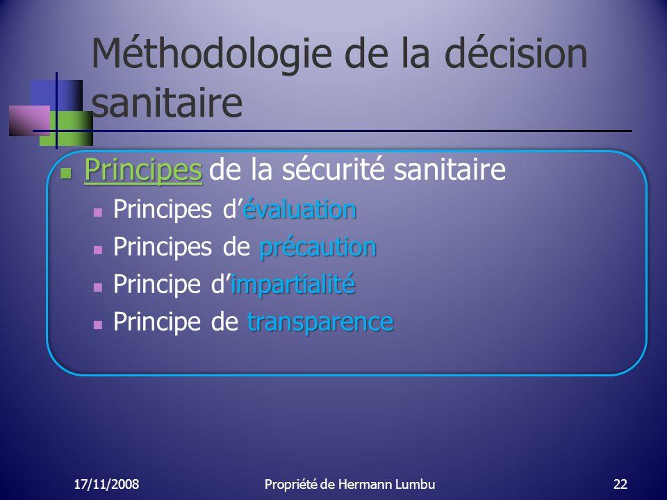 Méthodologie de la décision sanitaire Principes Principes de la sécurité sanitaire évaluation Principes dévaluation précaution Principes de précaution
