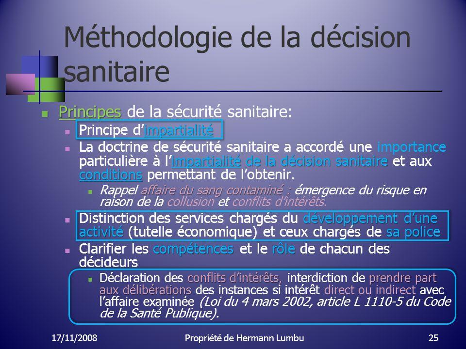 Méthodologie de la décision sanitaire Principes Principes de la sécurité sanitaire: impartialité Principe dimpartialité impartialité de la décision sa