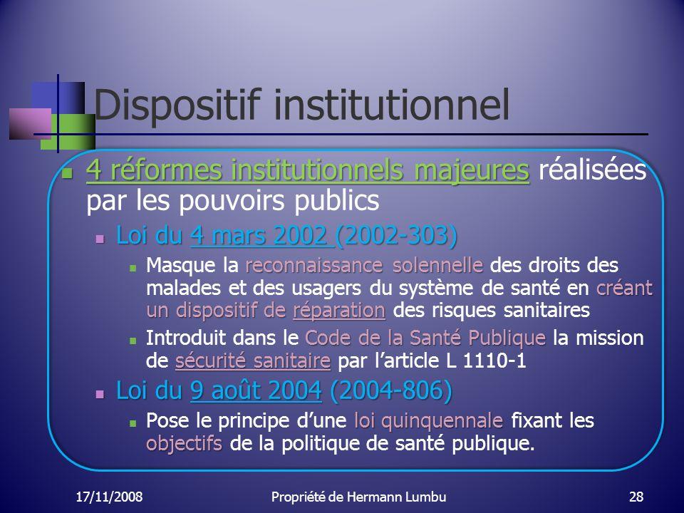 Dispositif institutionnel 4 réformes institutionnels majeures 4 réformes institutionnels majeures réalisées par les pouvoirs publics Loi du 4 mars 200