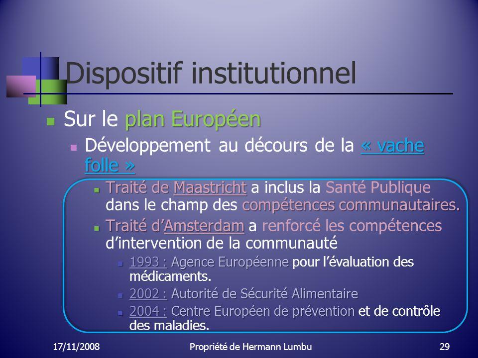 Dispositif institutionnel plan Européen Sur le plan Européen « vache folle » Développement au décours de la « vache folle » Traité de Maastricht compé