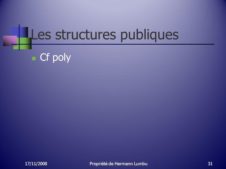 Les structures publiques Cf poly 17/11/200831Propriété de Hermann Lumbu