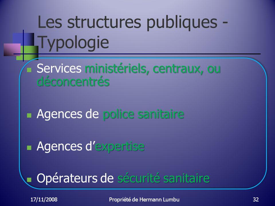 Les structures publiques - Typologie ministériels, centraux, ou déconcentrés Services ministériels, centraux, ou déconcentrés police sanitaire Agences